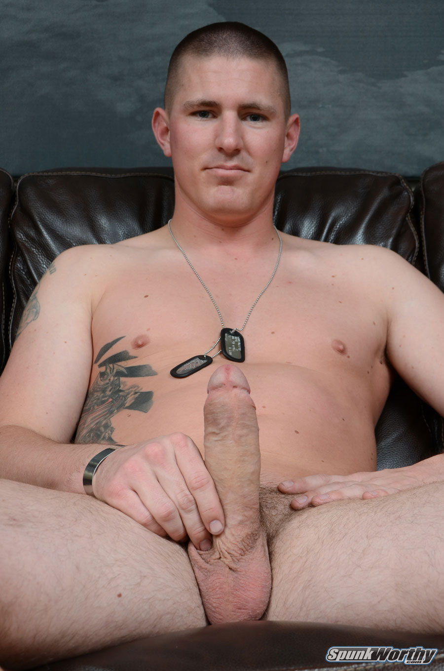 SpunkWorthy-Eli-Straight-Marine-With-Big-Uncut-Cock-Masturbating-Jerking-Off-06 Real Straight Marine With Huge Uncut Cock Shoots His Cum Load