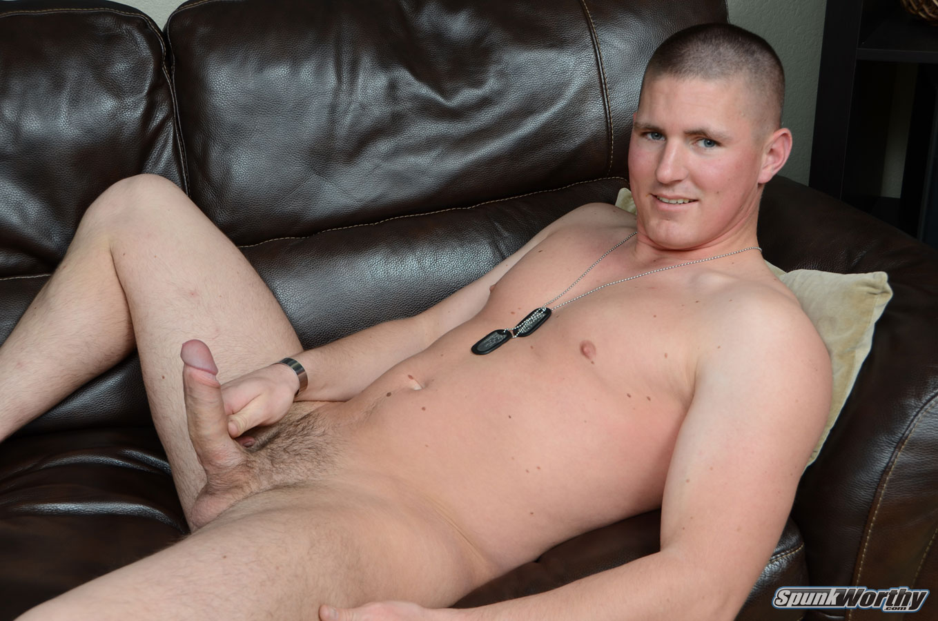 SpunkWorthy-Eli-Straight-Marine-With-Big-Uncut-Cock-Masturbating-Jerking-Off-16 Real Straight Marine With Huge Uncut Cock Shoots His Cum Load