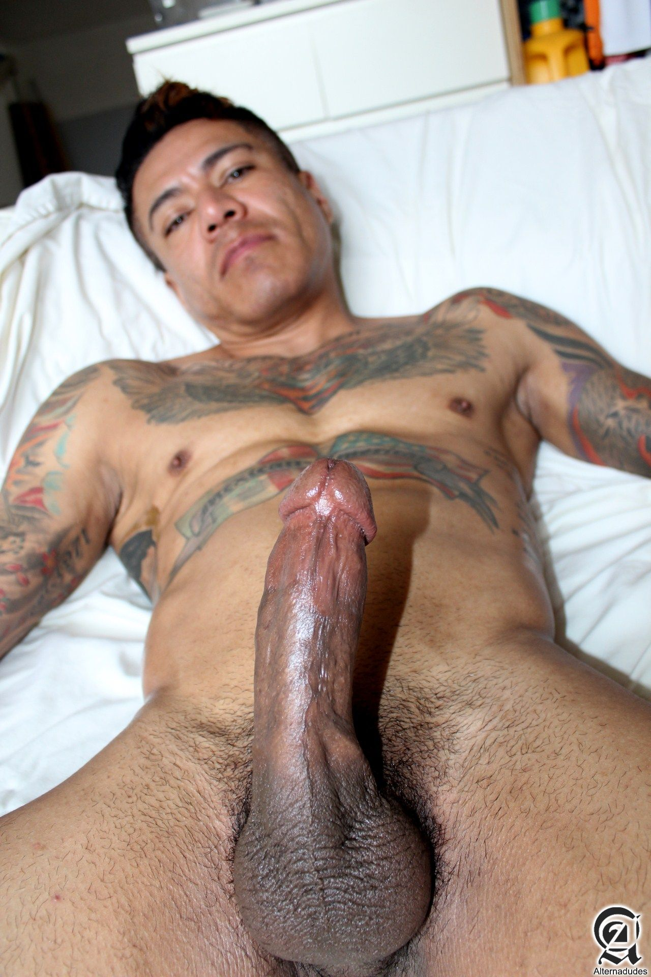 Alternadudes-Maxx-Sanchez-Tatted-Mexican-Daddy-Big-Cock-Amateur-Gay-Porn-10 Amateur Tatted Latino Daddy Shot A Load In His Mouth