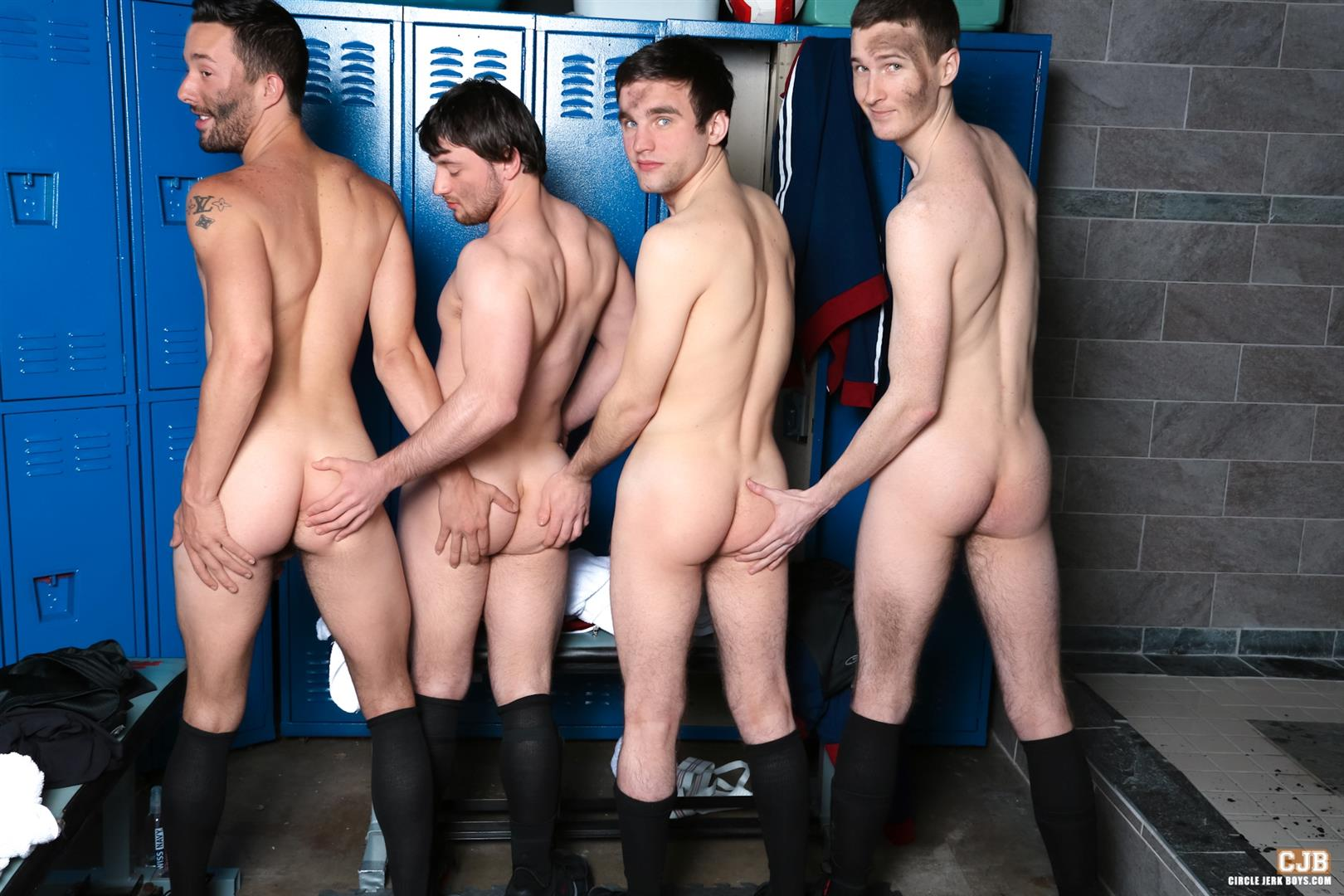 Circle Jerk Boys Andrew Collins and Isaac Hardy and Josh Pierce and Scott Harbor Soccer Guys Sucking Cock Amateur Gay Porn 12 After the Game, Soccer Plays Sucking Cock In The Locker Room
