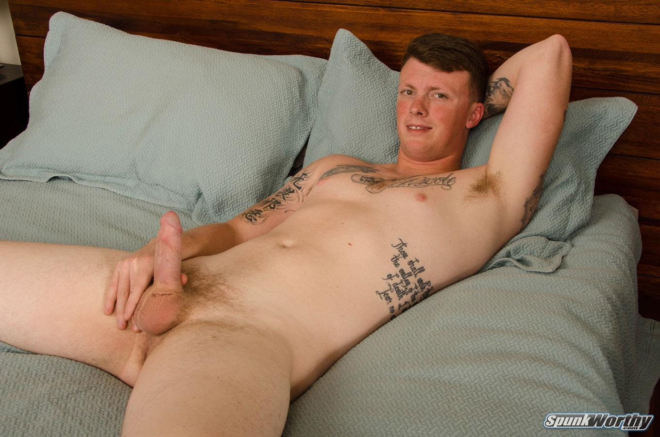 SpunkWorthy-Bryson-Marine-Gets-A-HandJob-From-Another-Guy-15 Redheaded Marine Gets Jerked Off By A Guy While His Wife Watches