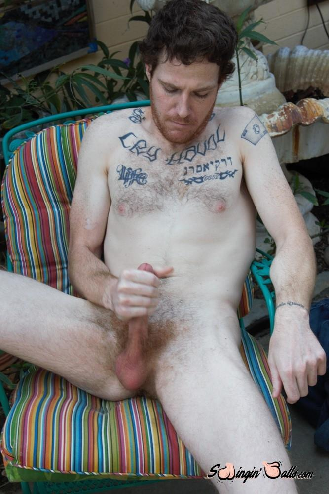Swingin-Balls-Joshua-Martinez-Hairy-Guys-With-A-Big-Dick-Masturbation-Video-09 Tall Furry Ginger Guy Jerking His Big Hairy Cock On The Patio